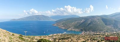 Panoramic view over the island of Kefalonia, Greek Islands, Greece