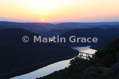 Rio Tajo (River Tagus) shortly after sunrise, from Monfrague Castle, Extremadura, Spain