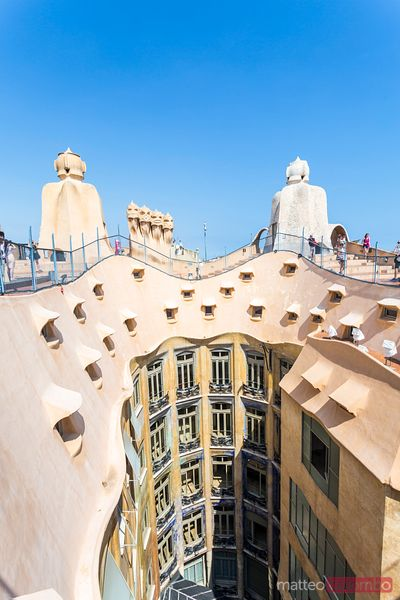 Rooftop of La Pedrera by Gaudi, Barcelona, Spain