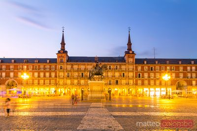 Plaza Mayor at dusk, Madrid, Spain