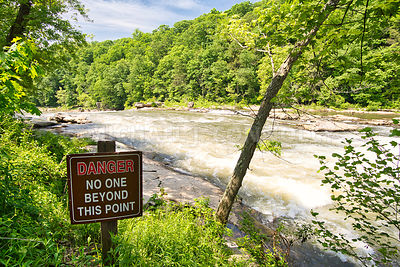 Dangerous Water Warning Sign- Youghiogheny River- Ohiopyle, PA