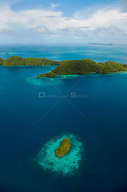 Aerial view of Rock Islands and Reef, Palau, Micronesia. April 2009