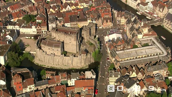 Close orbit of Gravensteen Castle in Ghent, Belgium
