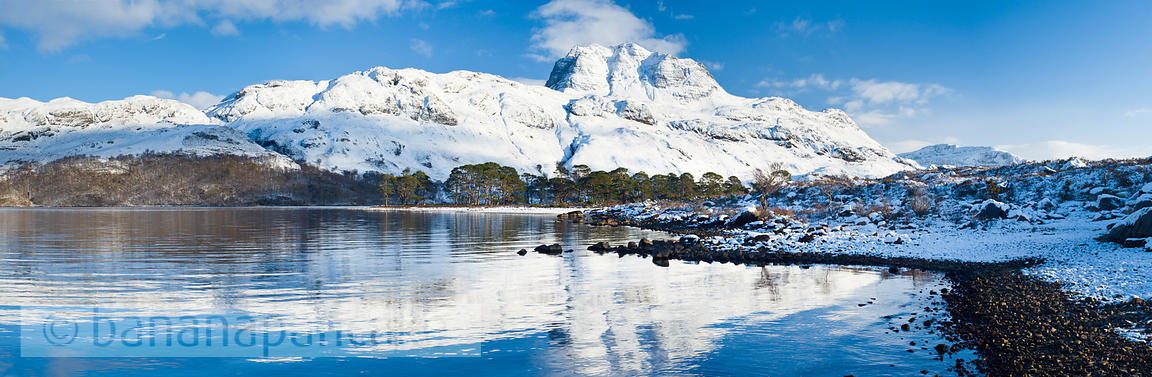 BP2346b - Panoramic view of Slioch, from Loch Maree, Winter