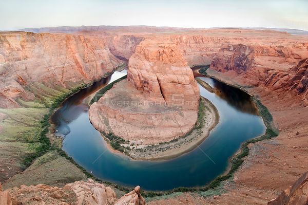 Aerial view of Horseshoe Bend of the Colorado River at dawn, near Page, Arizona, USA