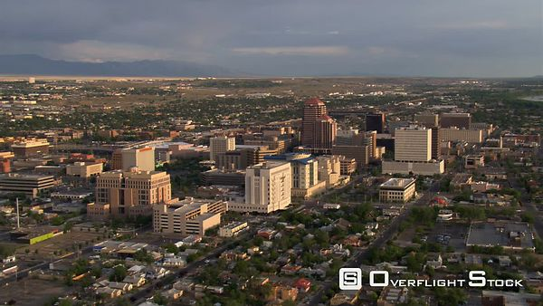 Wide orbit of downtown Albuquerque.