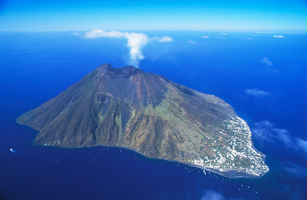 Volcanic island of Stromboli, Aeolian Islands, north of Sicily. This is a view from 2,000m.