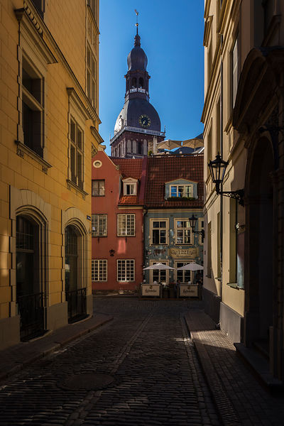 View of Street in the Old Town and Riga Cathedral