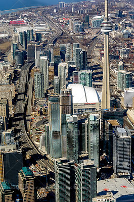 Downtown Core of the cCty of Toronto with the Gardiner Expressway the CN Tower and Rogers Centre
