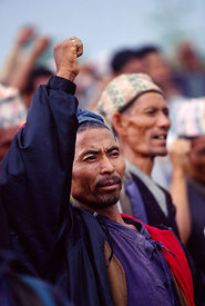 Peasants at a Maoist rally in Dolakha, Nepal