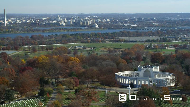 Memorial Amphitheater at Arlington National Cemetery  Washington DC across river in background.