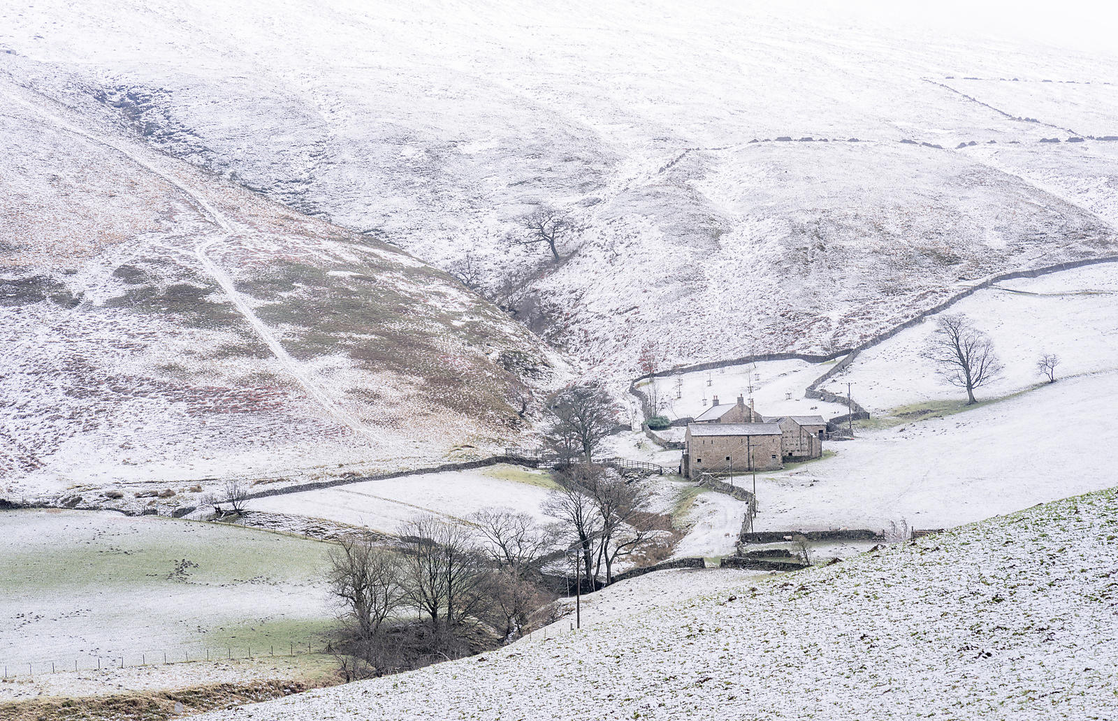 Winter farmhouse near the Snake Pass