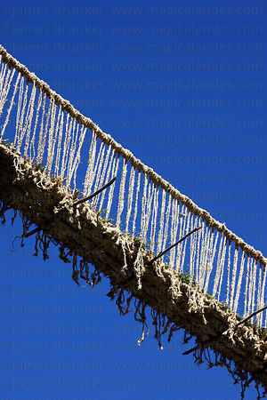Detail of newly rebuilt Inca rope suspension bridge, Q'eswachaka, Canas province, Peru