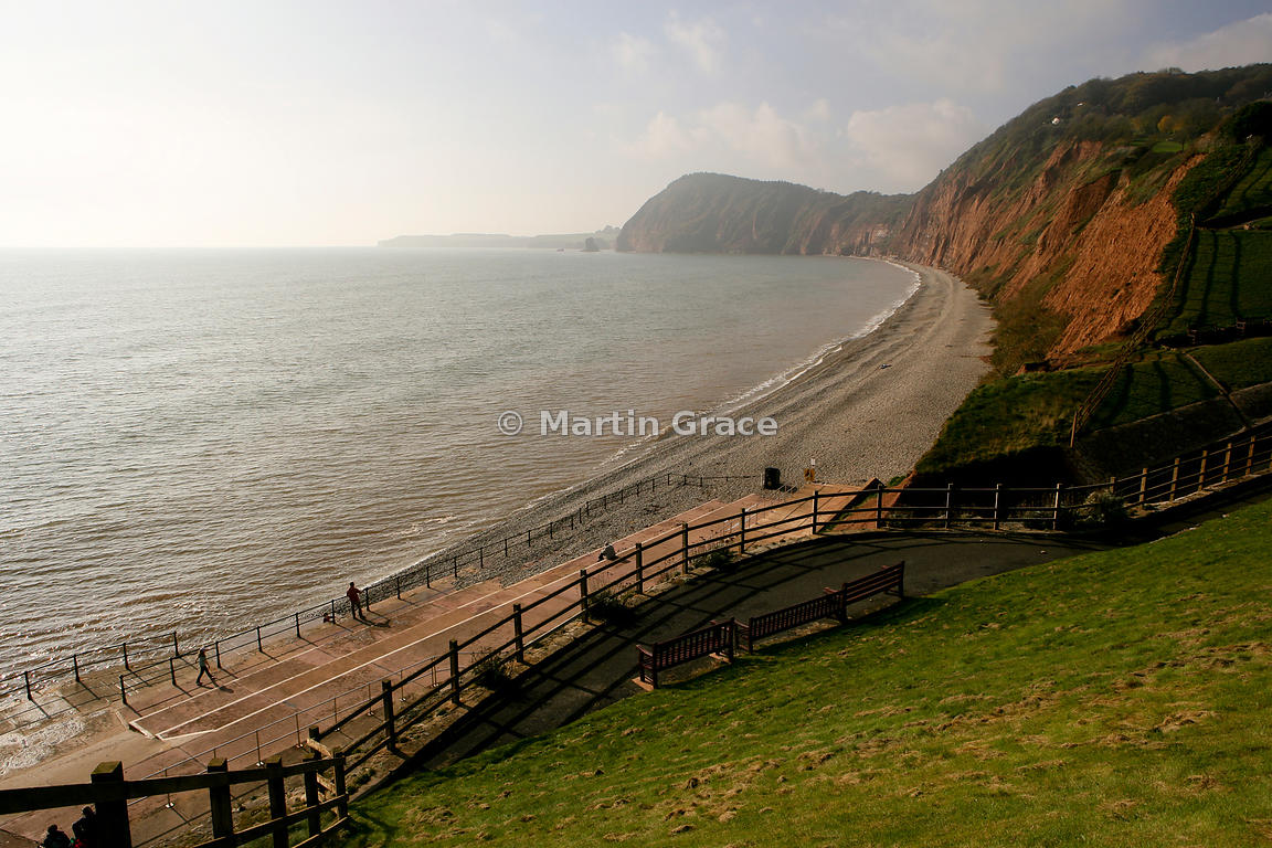 West Cliffs at Sidmouth in warm November evening sunlight, south Devon, England