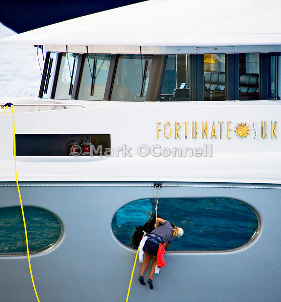 Wash down on Motor yacht Fortunate Sun