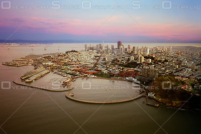 Dowtown San Francisco Skyline and Fishermans Wharf. California.