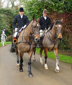 James Mossman, Peter Cooke arriving at the meet - The Cottesmore Hunt at Little Dalby 7/2