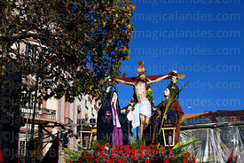 Statue of Jesus on the cross / Paso del Calvario during Good Friday procession, Plaza Murillo, La Paz, Bolivia