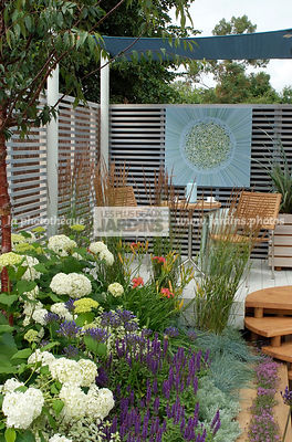 Border, Border with flowers, Garden chair, garden designer, Garden furniture, Garden table, Small garden, Terrace, tight cloth, Trellis, Urban garden, Contemporary Terrace, Digital, Grasses
