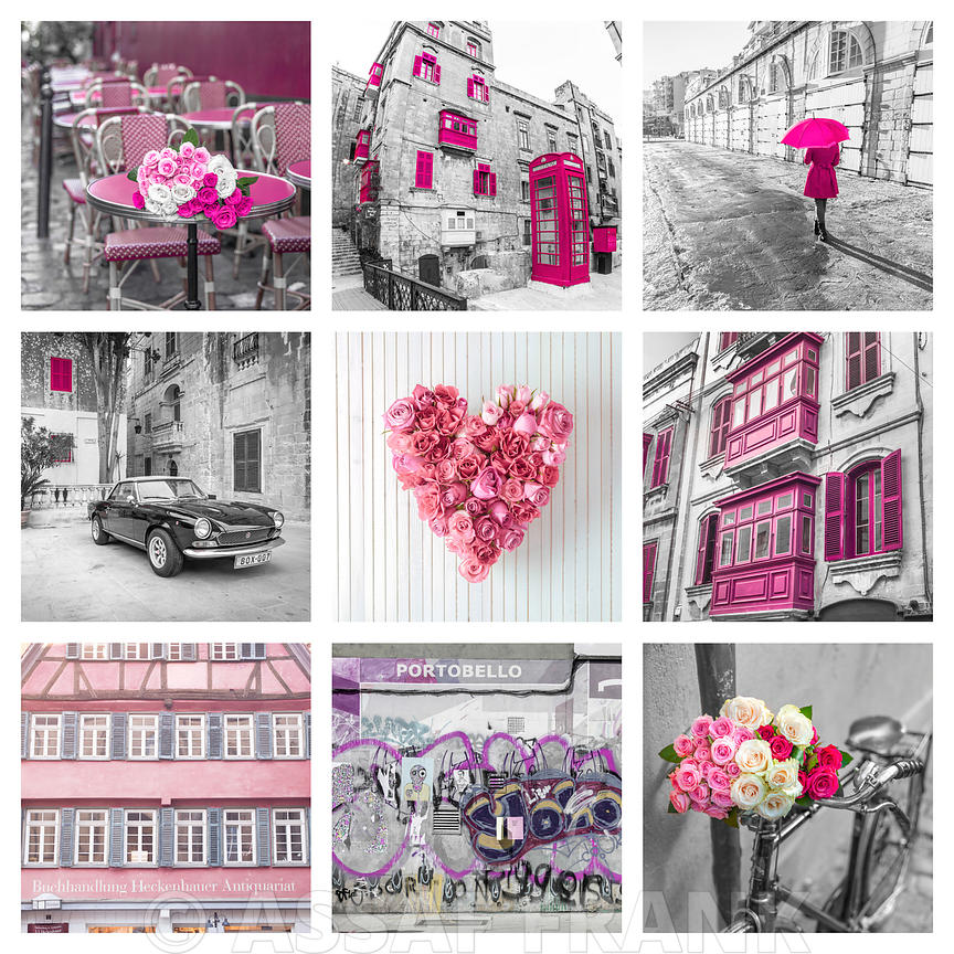 Collage of places in pink