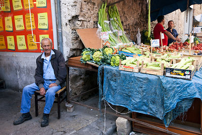 Italy - Palermo - An old man at his vegetable stall in the Capo Market,