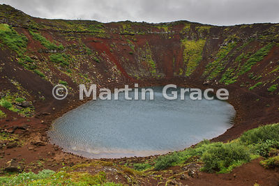 Kerid Caldera, a 6500-year-old volcanic scoria crater in Iceland's Western Volcanic Zone