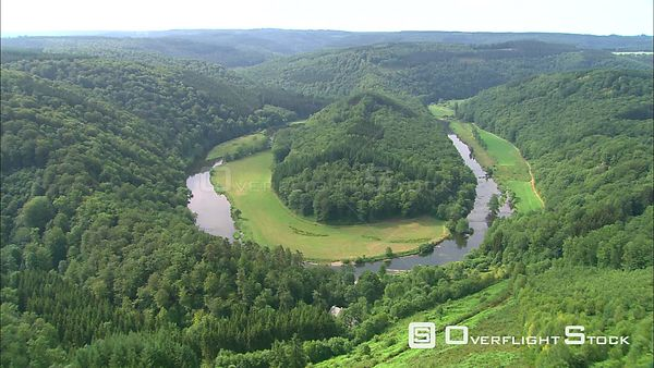 Above the Ardennes Forest and a horseshoe bend of the Ourthe River, Belgium