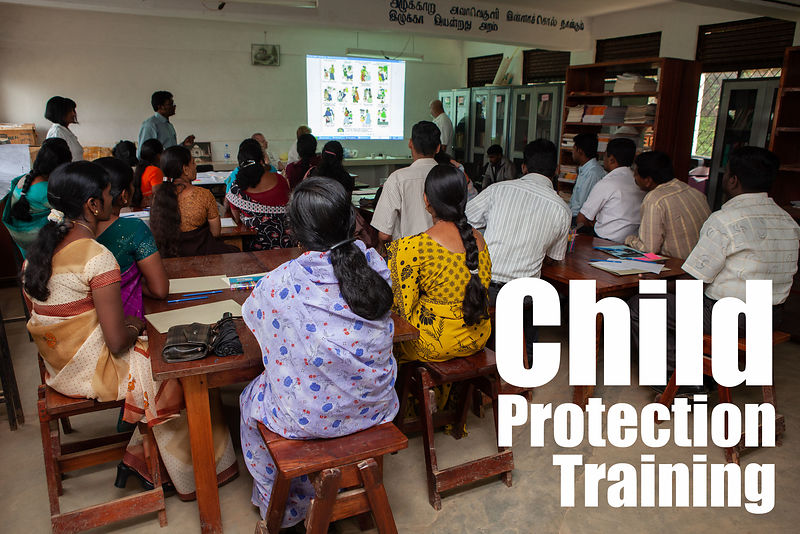 Teachers attending the child protection training.