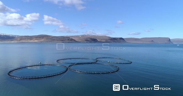 Aerial Flying Slow Over Icelandic Ocean Fish Farm Pens, West Fjords Iceland