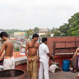 Waiters relax on the roof of the Indian Coffee House, Thiruvananthapuram