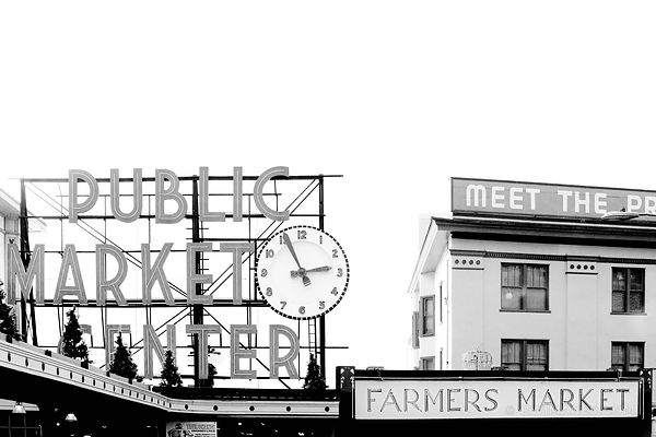 SEATTLE PUBLIC MARKET FARMERS MARKET BLACK AND WHITE