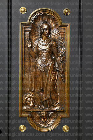 Detail of bronze figures on Holy Door / Puerta Santa next to main entrance of cathedral, La Paz, Bolivia