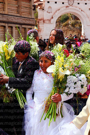 Wedding procession in Chinchero village, Cusco Region, Peru