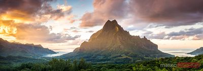 Panoramic of Mt Rotui and Opunohu bay at sunset, Moorea, Polynesia