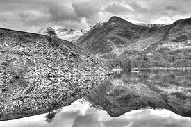 Slate Mound & Mountain Reflections In Llyn Padarn (Mono)
