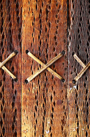Detail of cactus wood door with llama skin leather binding, San Francisco church, Chiu Chiu, Region II, Chile