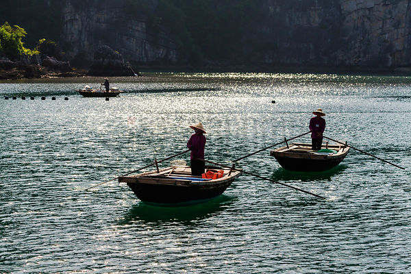 Fishermen on Bamboo Boats
