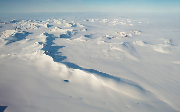 Aerial photo of Spitsbergen, Svalbard, Norway, July 2012.