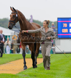 Sarah Bullimore and REVE DE ROUET - The first vets inspection (trot up),  Land Rover Burghley Horse Trials, 3rd September 2014.