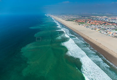 Aerial view of the city of Oxnard and beach front, Ventura County, California, USA, February 2015.