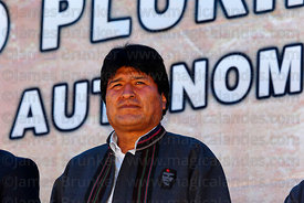 Bolivian president Evo Morales at an event to celebrate Bolivia rejoining the 1961 UN Single Convention on Narcotic Drugs, La...