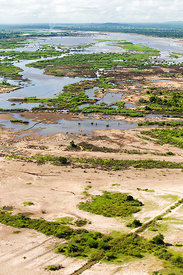 Aerial view of flooded farmland and roads after the January 2015.  Makhanga, Malawi. March 2015.