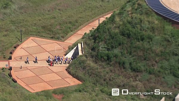 Aerial shot of people entering the Tumulus building at Maropeng visitors centre Johannesburg Gauteng South Africa