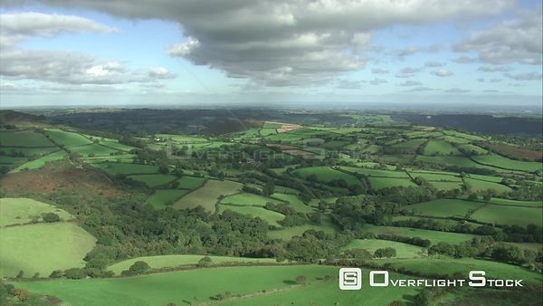 Aerial view tracking over East Dartmoor, Dartmoor National Park, Devon, England, UK, October 2015.