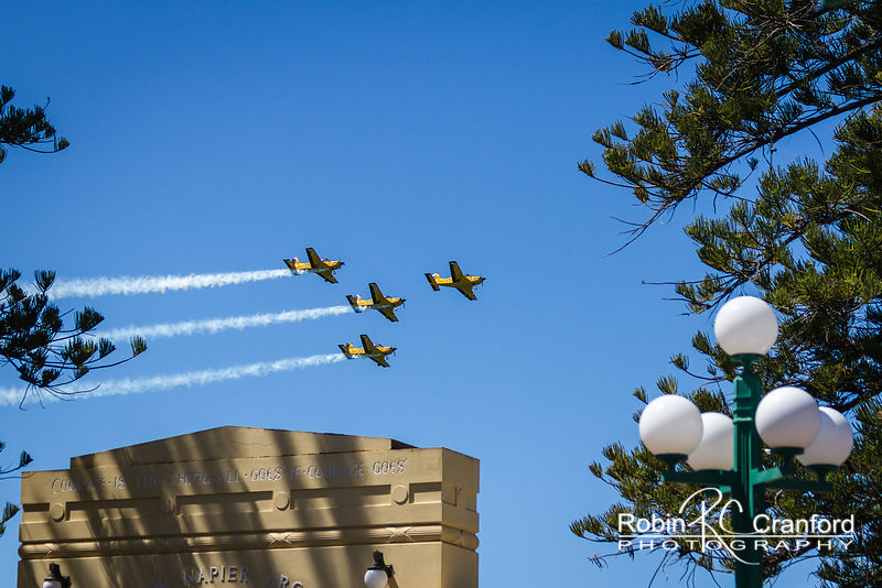 Art Deco Sunday 2013.  Air show.  New Zealand Airforce Red Checkers Aerobatic Team flying.