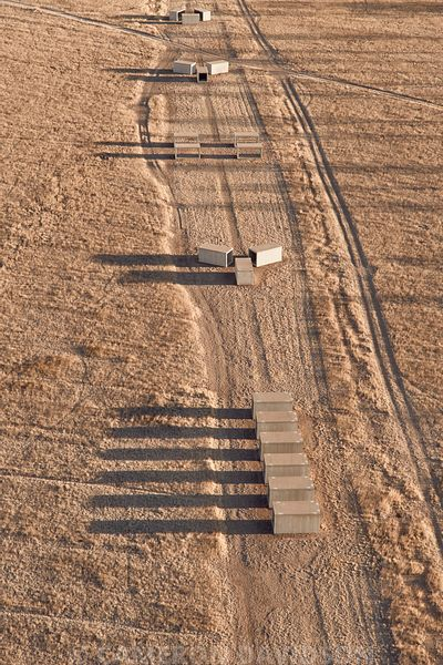 "Aerial photograph of Donald Judd's ""untitled Concrete"""