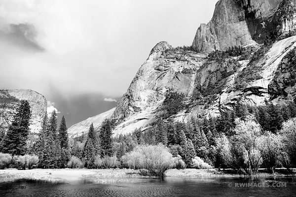 MIRROR LAKE YOSEMITE NATIONAL PARK CALIFORNIA BLACK AND WHITE