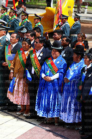 La Paz Department Assembly members during official ceremonies for Dia del Mar / Day of the Sea, La Paz, Bolivia