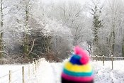 Woolly hat and snowy scene