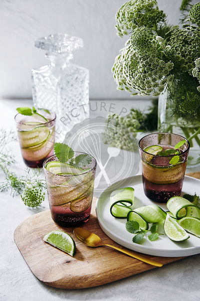 mint, cucumber and gin cocktails.